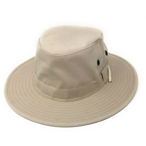 Cotton Summer Sun Hat with Chin Strap - Stone - Rambler